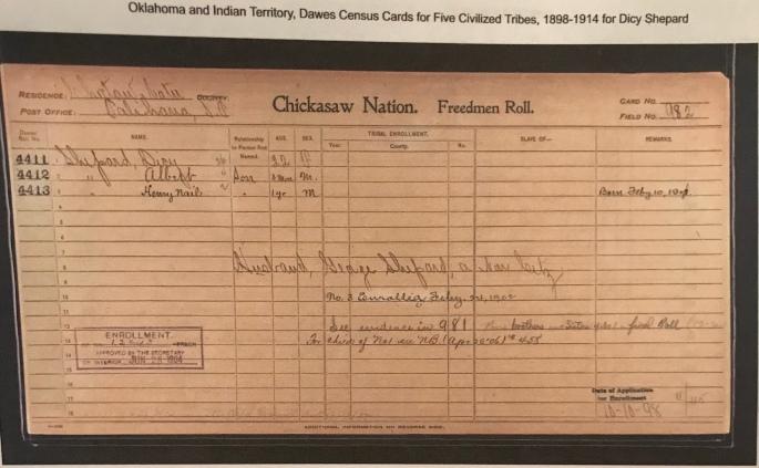 Chickasaw Freedmen Family: Dicy, Albert & Henry Nail Shepard